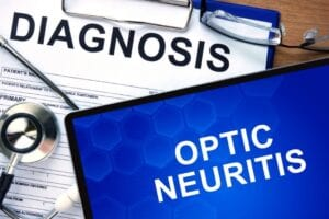 Concept image with a diagnosis for optic neuritis