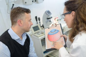 man and eye doctor review a graphic that explains glaucoma